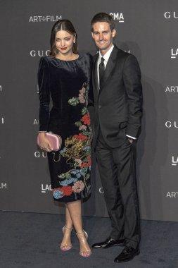 Miranda Kerr, Evan Spiegel attends  2018 LACMA Art+Film Gala Honoring Catherine Opie + Guillermo Del Toro at LACMA, Los Angeles, California on November 3rd, 2018