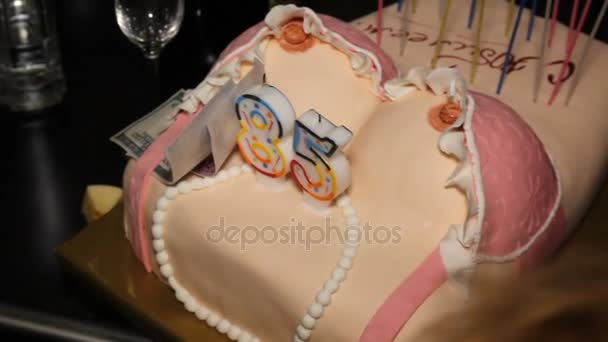 Amazing Cake For Birthday In Form Of Female Breast Stock Video Personalised Birthday Cards Beptaeletsinfo