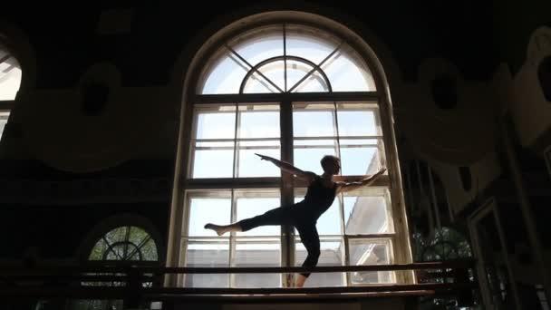 Silhouette of ballet dancer in ballet hall