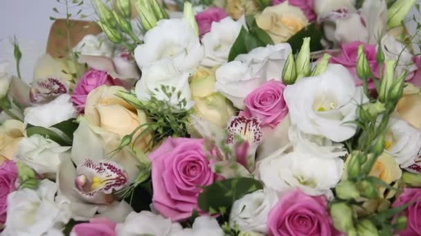 beautiful bouquet with pink roses and eustoma
