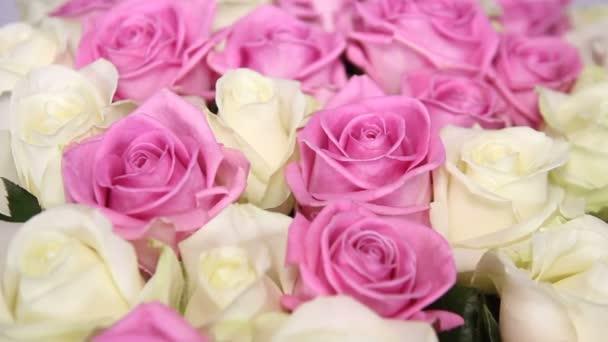 Detailní záběr z růžové a bílé růže kytice