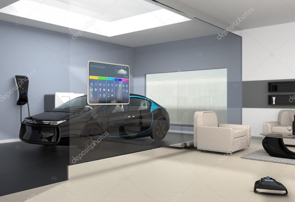 Huisautomatisering bedieningspaneel op de glazen wand — Stockfoto ...