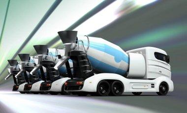 Fleet of concrete mixer trucks isolated on white background