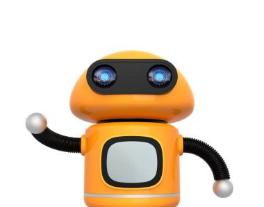 Cute orange robot isolated on white background