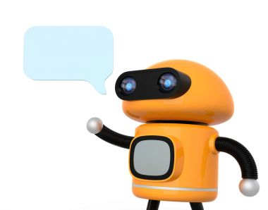 Cute orange robot with text bubble isolated on white background