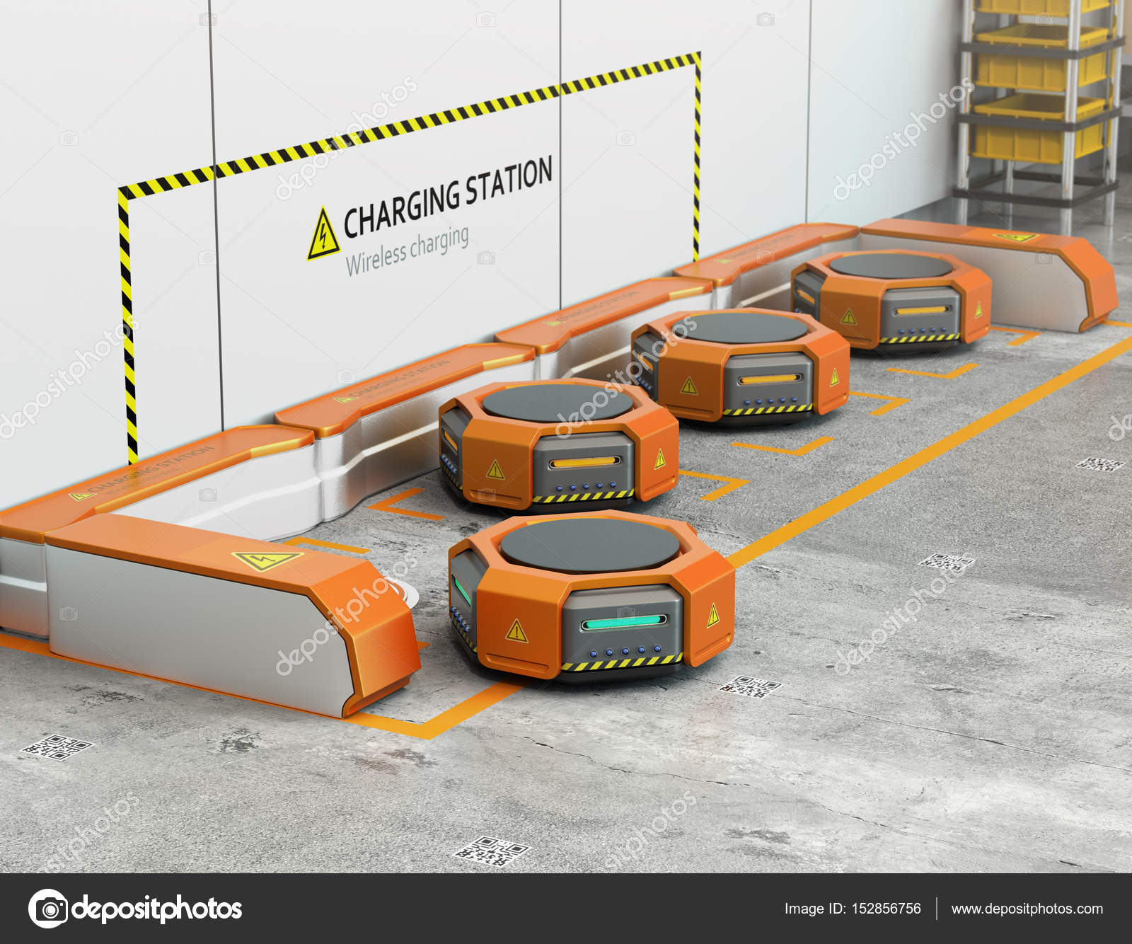 Warehouse robots charging at charging station — Stock Photo