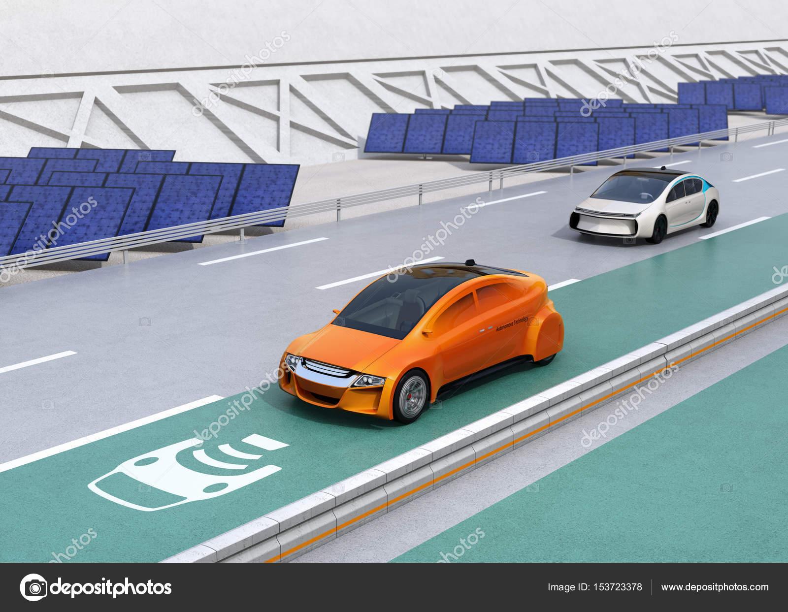 Elektrische Auto Rijden Op De Draadloze Opladen Rijstrook Van De