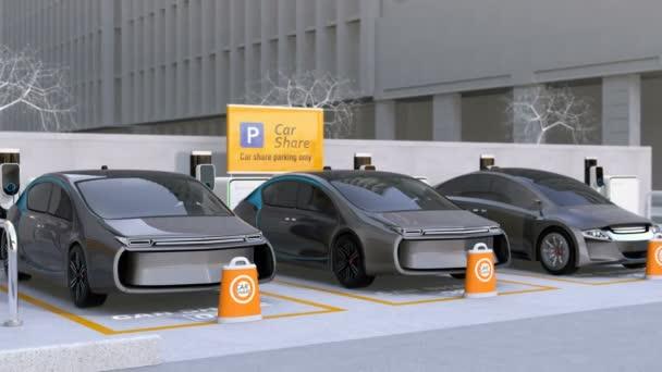 Elektromobily v autě sdílení parkoviště