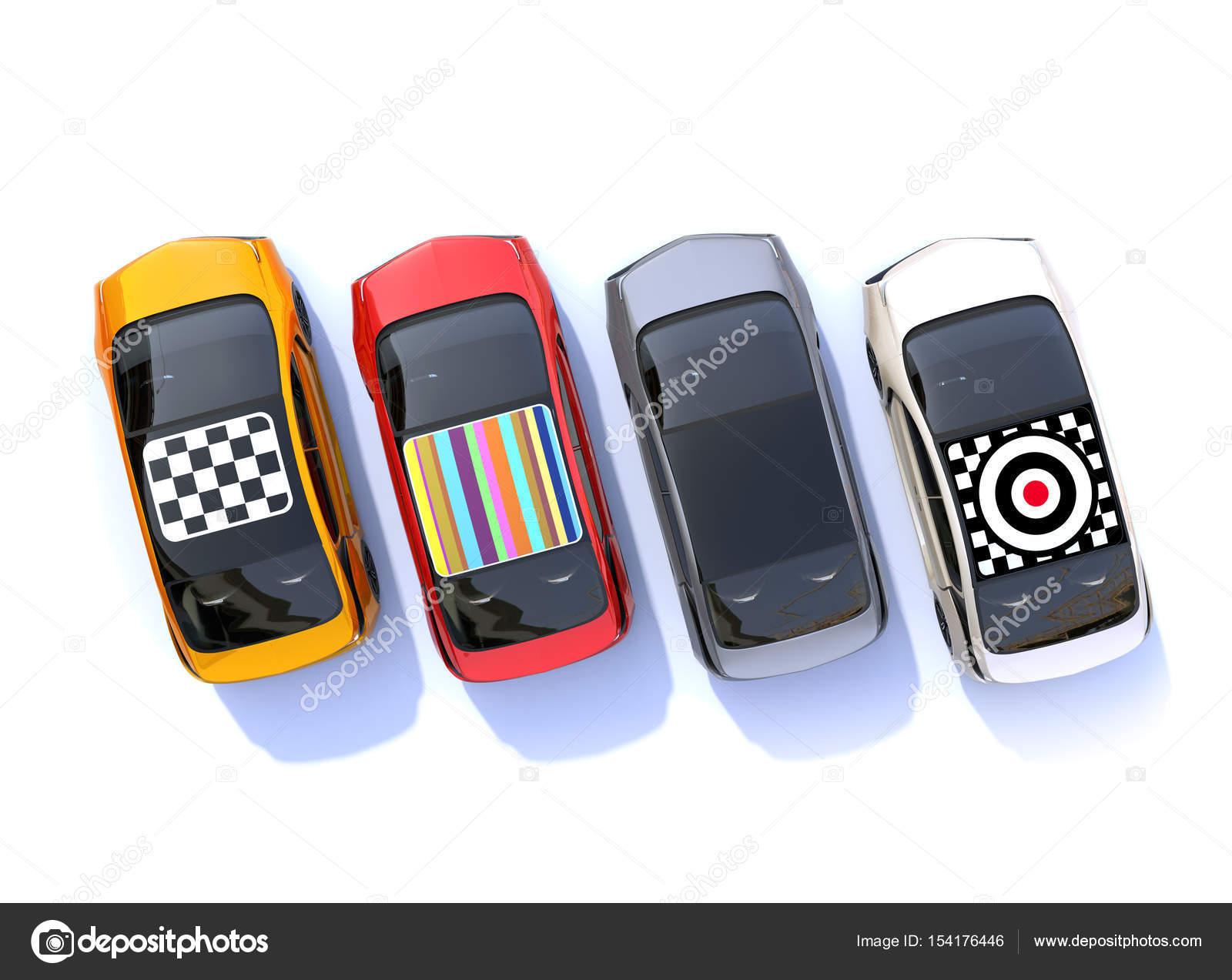 Luchtfoto Van Kleurrijke Elektrische Auto S Stockfoto C Chesky W
