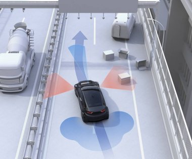 Autonomous car changing lane quickly to avoid a traffic accident