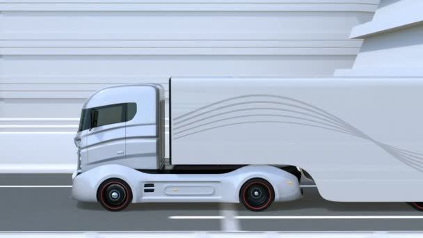 A fleet of autonomous trucks driving on highway