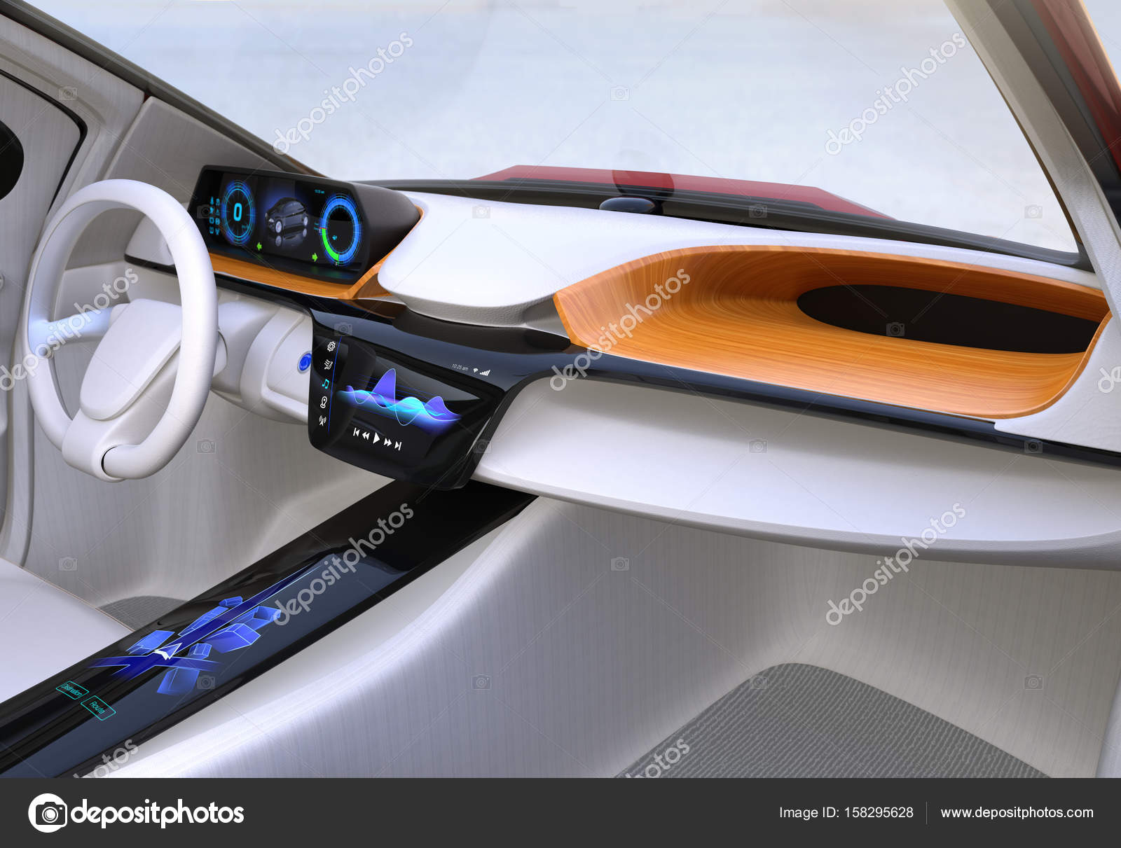 autonomous car interior concept stock photo chesky w 158295628. Black Bedroom Furniture Sets. Home Design Ideas