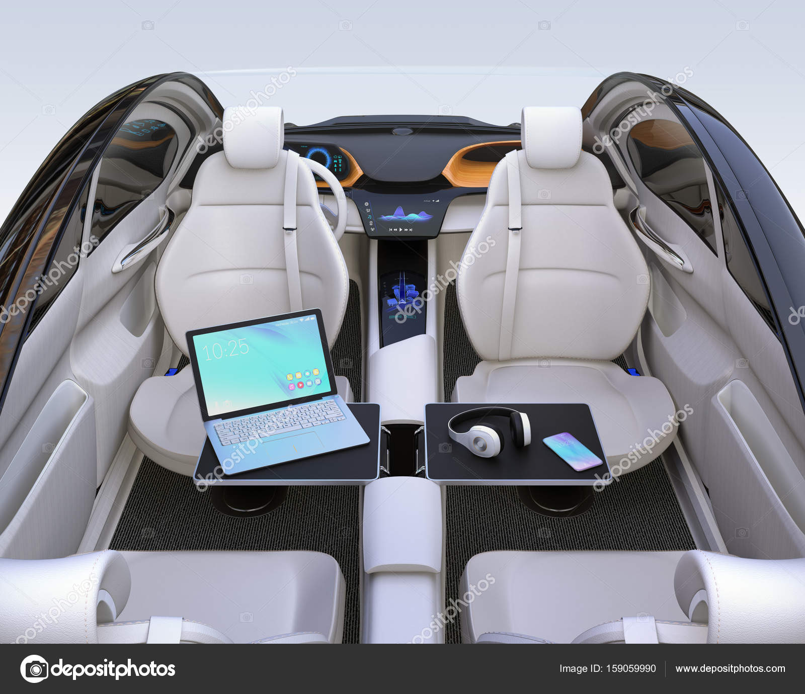 autonomous car interior concept stock photo chesky w 159059990. Black Bedroom Furniture Sets. Home Design Ideas