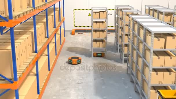 Warehouse robots carrying goods automatically