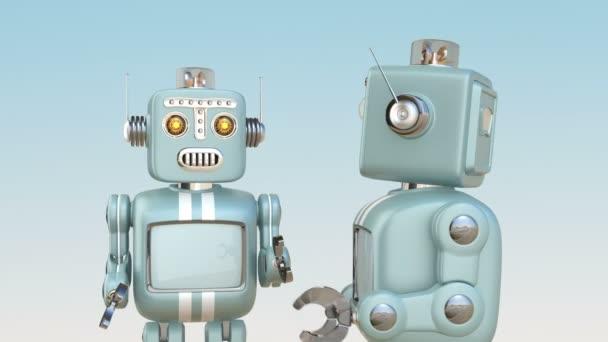 Két, egymással beszélgető retro robotok