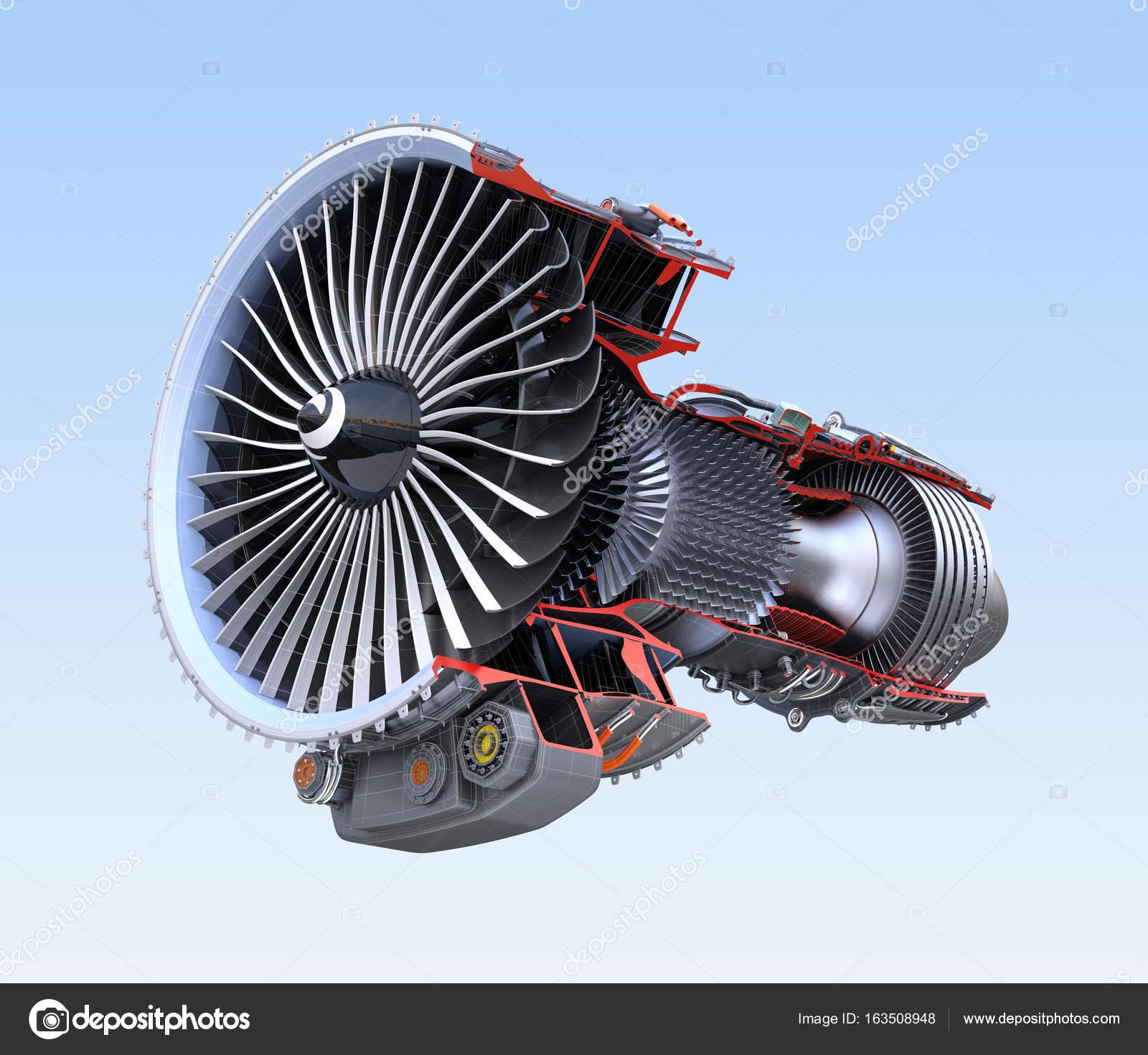 Turbofan-Triebwerk Querschnitt Wireframe isoliert auf blauem ...