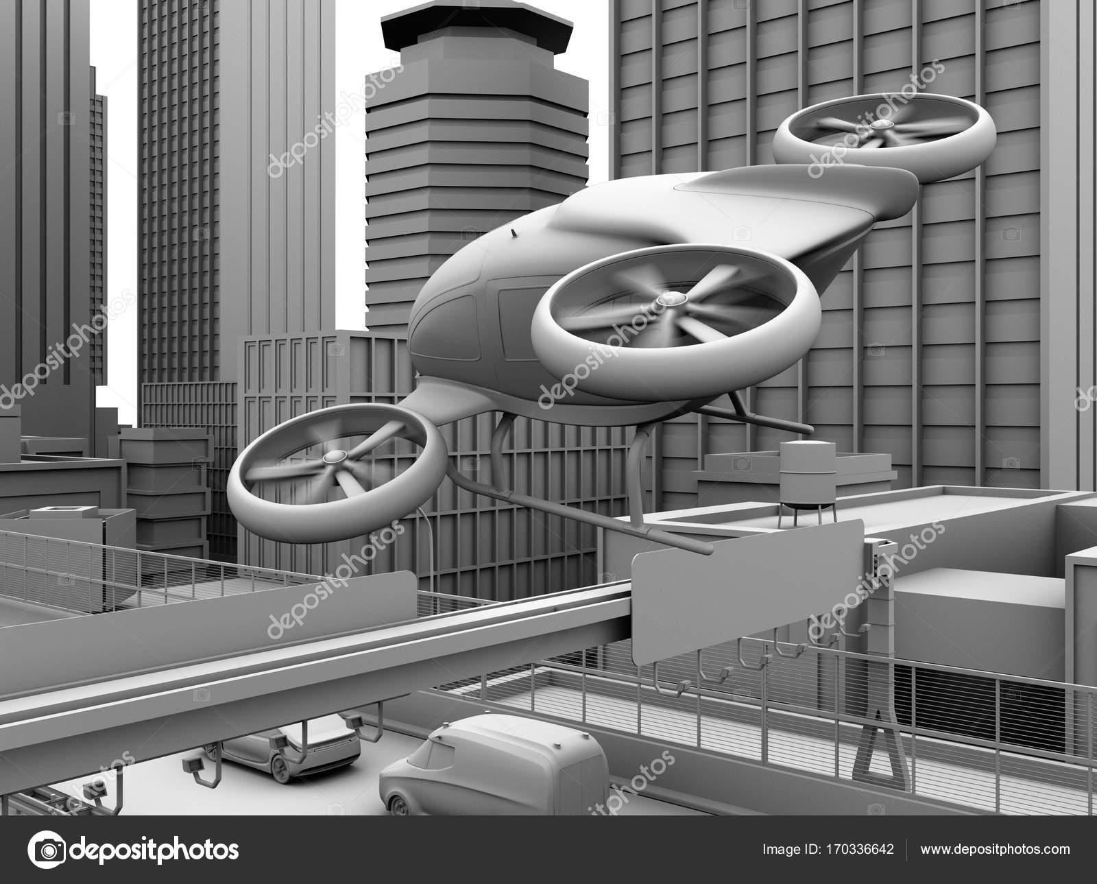 Clay rendering von selbstfahrenden Passagier-Drohne fliegt über ...