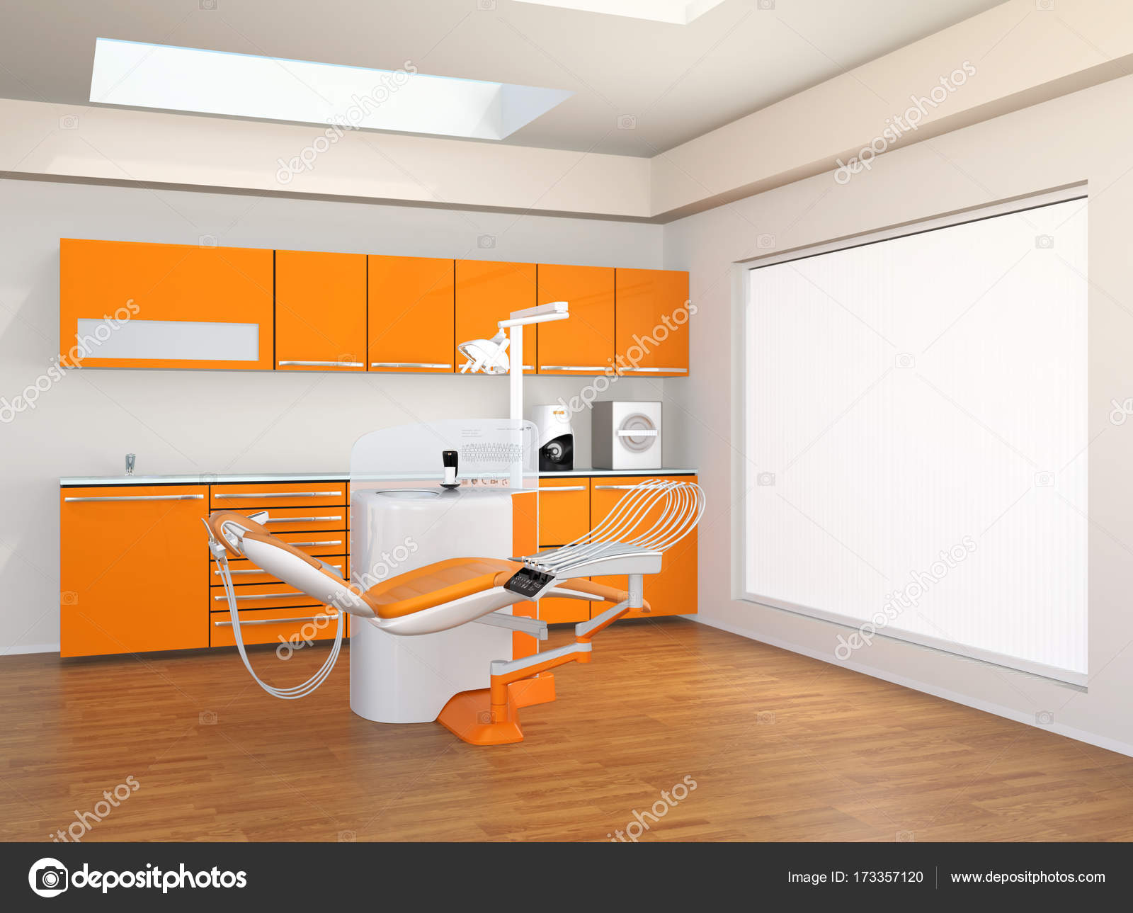 Dental Clinic Interior With Yellow Cabinet And Patient Chair Stock
