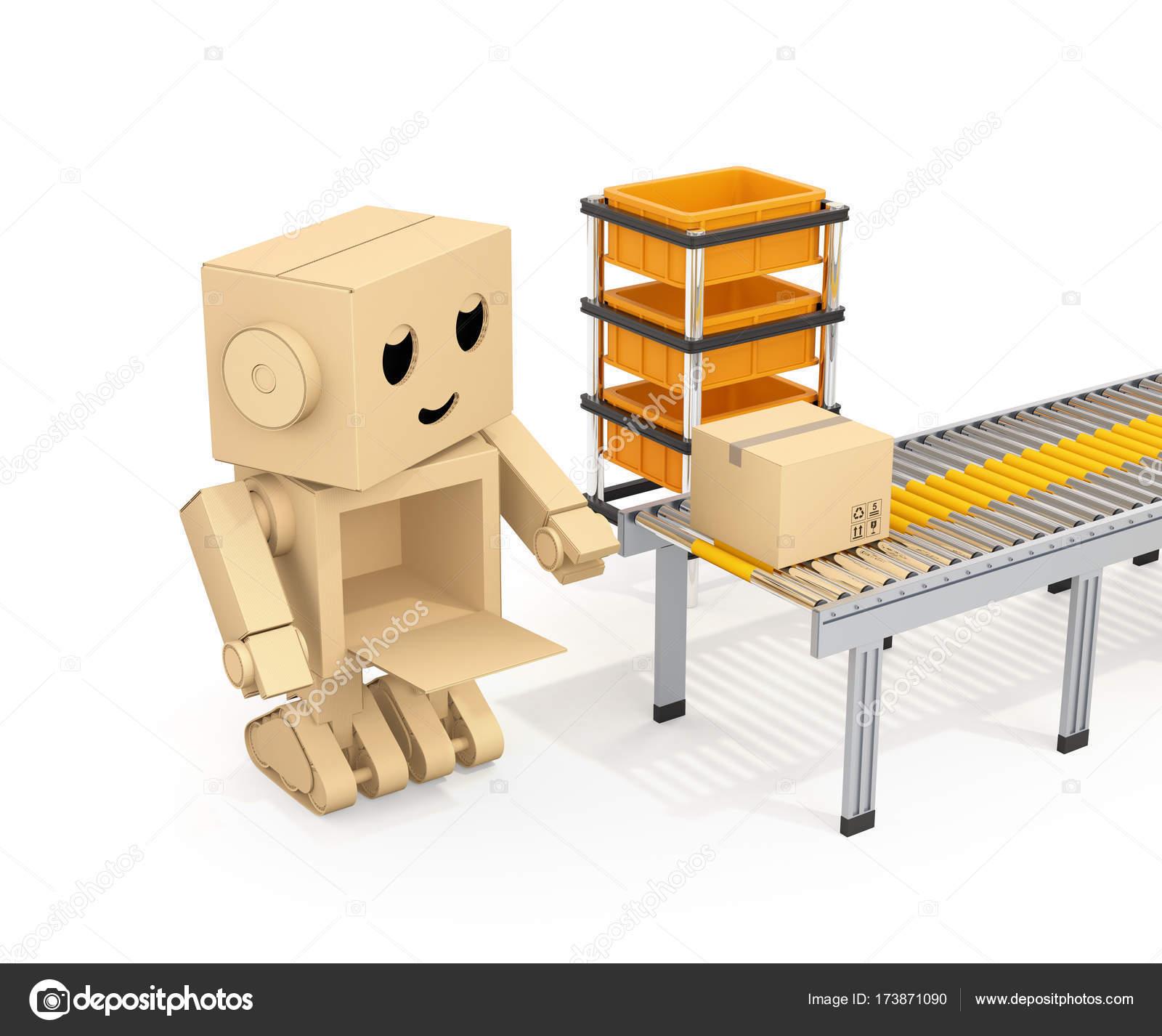 Lindo Robot de cartón, recogiendo cartón paquete — Fotos de Stock ...