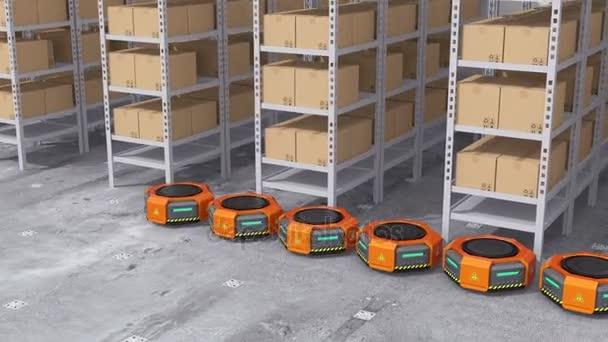 Narancssárga robot fuvarozók modern raktárban lévő árukat szállító. Modern szállítási központ koncepció. 3D megjelenítő animáció.