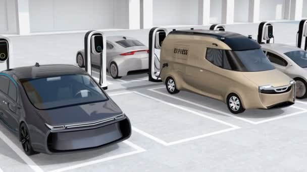 Electric cars in parking lot, charging by quick charging system. 3D rendering animation.