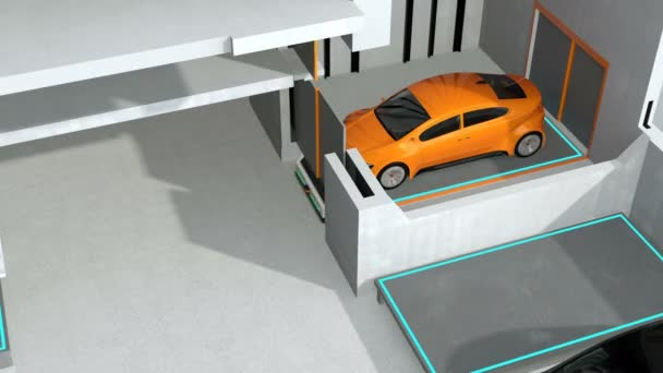 Yellow car parking by AGV (Automated  Guided Vehicle) in cutaway view. Automatic car parking system concept. 3D rendering animation.