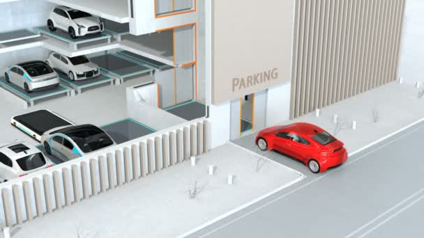 Red car parking by AGV (Automated  Guided Vehicle) in cutaway view. Automatic car parking system concept. 3D rendering animation.