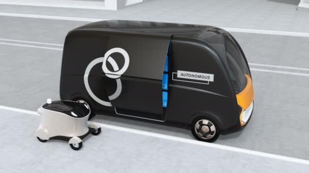 Automaticky řízené dodávky van otevřené boční dveře a převodu pozemku na mobilní dodávky DRONY. Poslední koncept jednu míli. 3D vykreslování animace