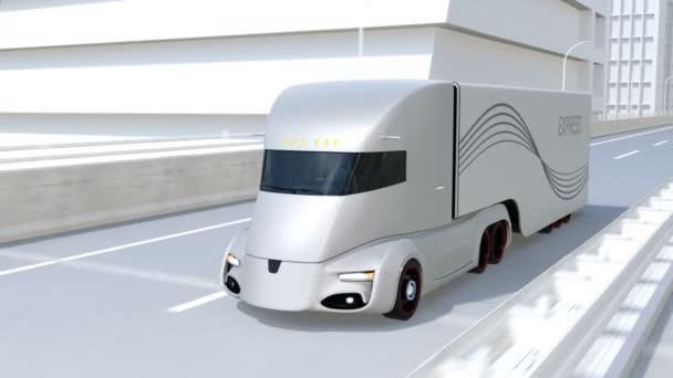 Automaticky řízené elektrické semi truck jízdy na dálnici. 3D vykreslování animace