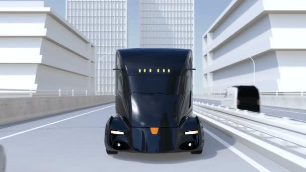 Flotila černé automaticky řízené elektrické semi kamiony na dálnici. 3D vykreslování animace