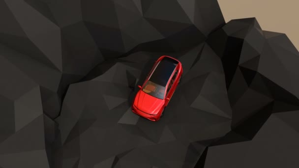 Metallic red electric SUV driving on geometric hard surface ground. 3D rendering animation