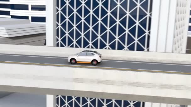 White autonomous electric SUV driving on the highway. 3D rendering animation.