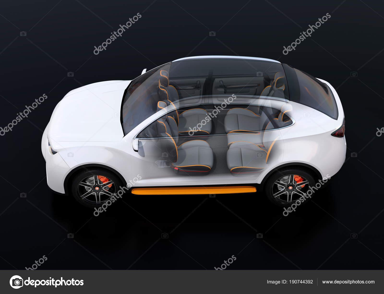 Seitenansicht Des Inneren Komponierte Elektro Suv Auto Auf Schwarzem ...