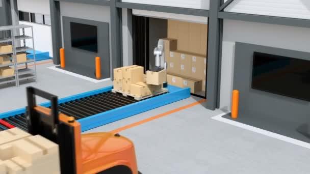 Průmyslový robot vykládání balíků od semi truck. Autonomní vysokozdvižný vozík rozjezd s Paletové zboží. Koncepce Automatizace logistiky. 3D vykreslování animace.