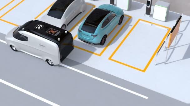 Doručovatele nesoucí balík do kufru modré auto na parkovišti. DRONY startuje od dodání van k doručování zásilek. Koncept pro poslední jednu míli. 3D vykreslování animace