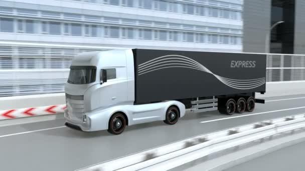 Obecný design modrá Heavy Electric Truck jízdy na dálnici. Udržitelný logistický koncept. Animace 3D vykreslování.