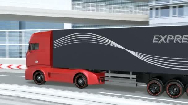 Roter Schwerer Elektro-LKW im allgemeinen Design, der auf der Autobahn fährt. Nachhaltiges Logistikkonzept. 3D-Rendering-Animation.