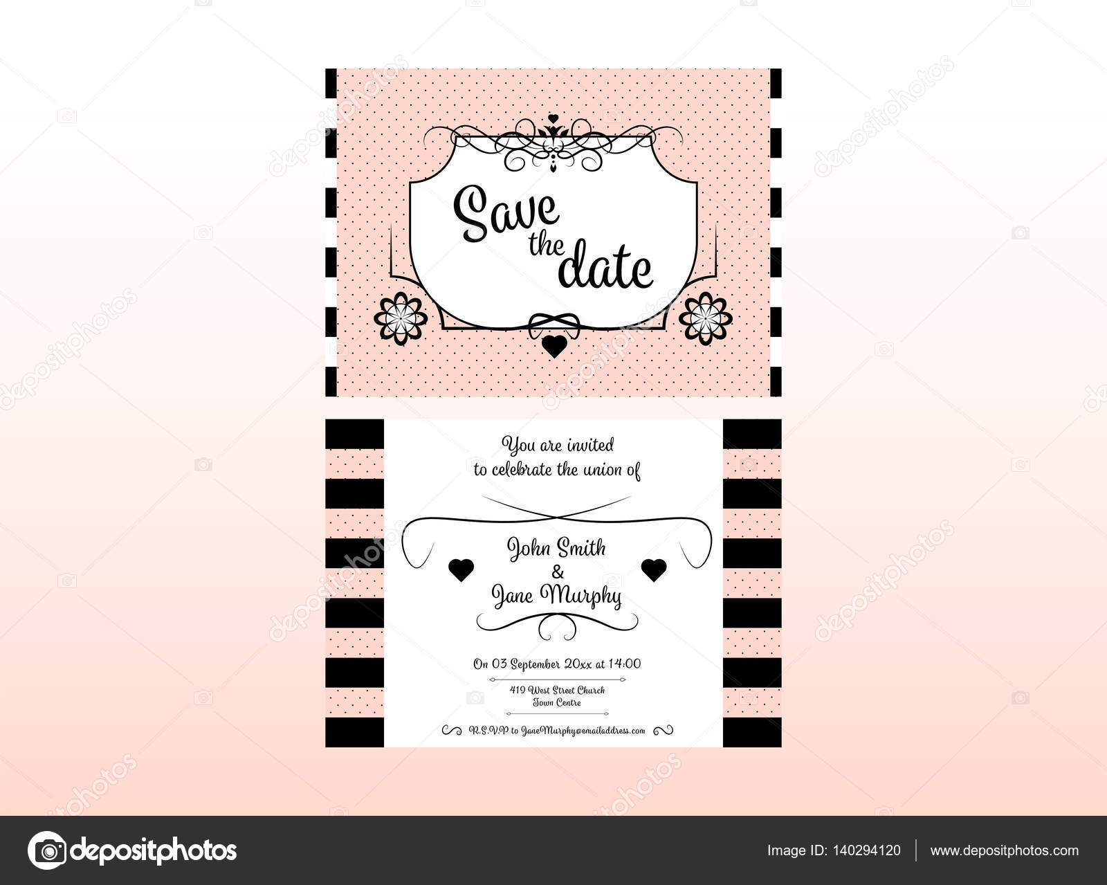 Wedding invitation card with names date and venue stock vector wedding invitation card with names date and venue stock vector stopboris Image collections