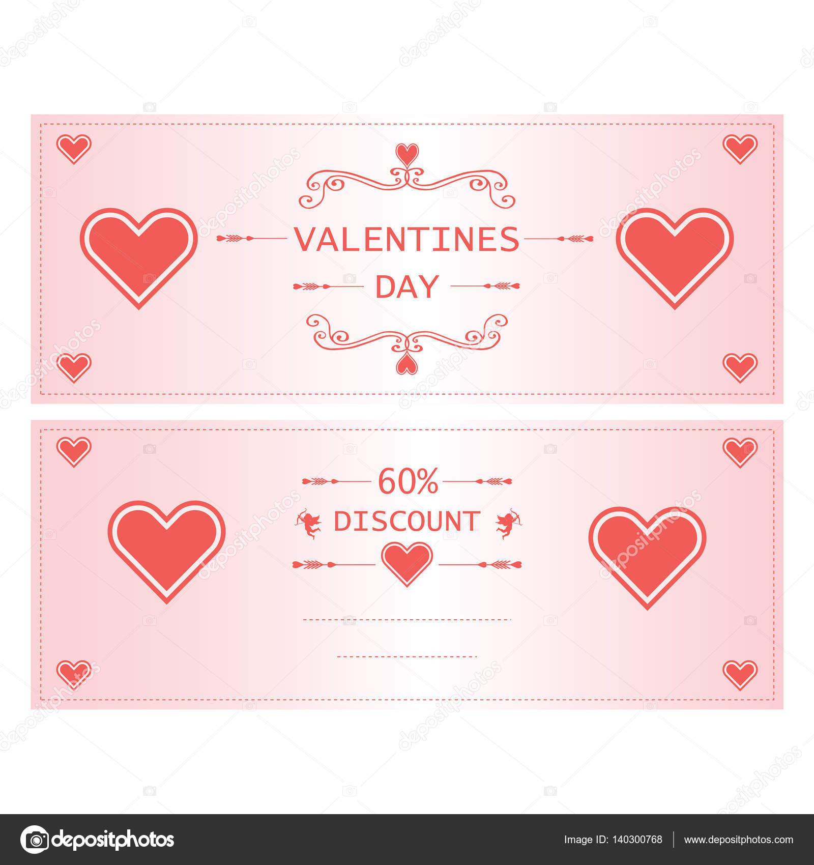 Valentine Day Greeting Cards With Heart For Sale Stock Vector