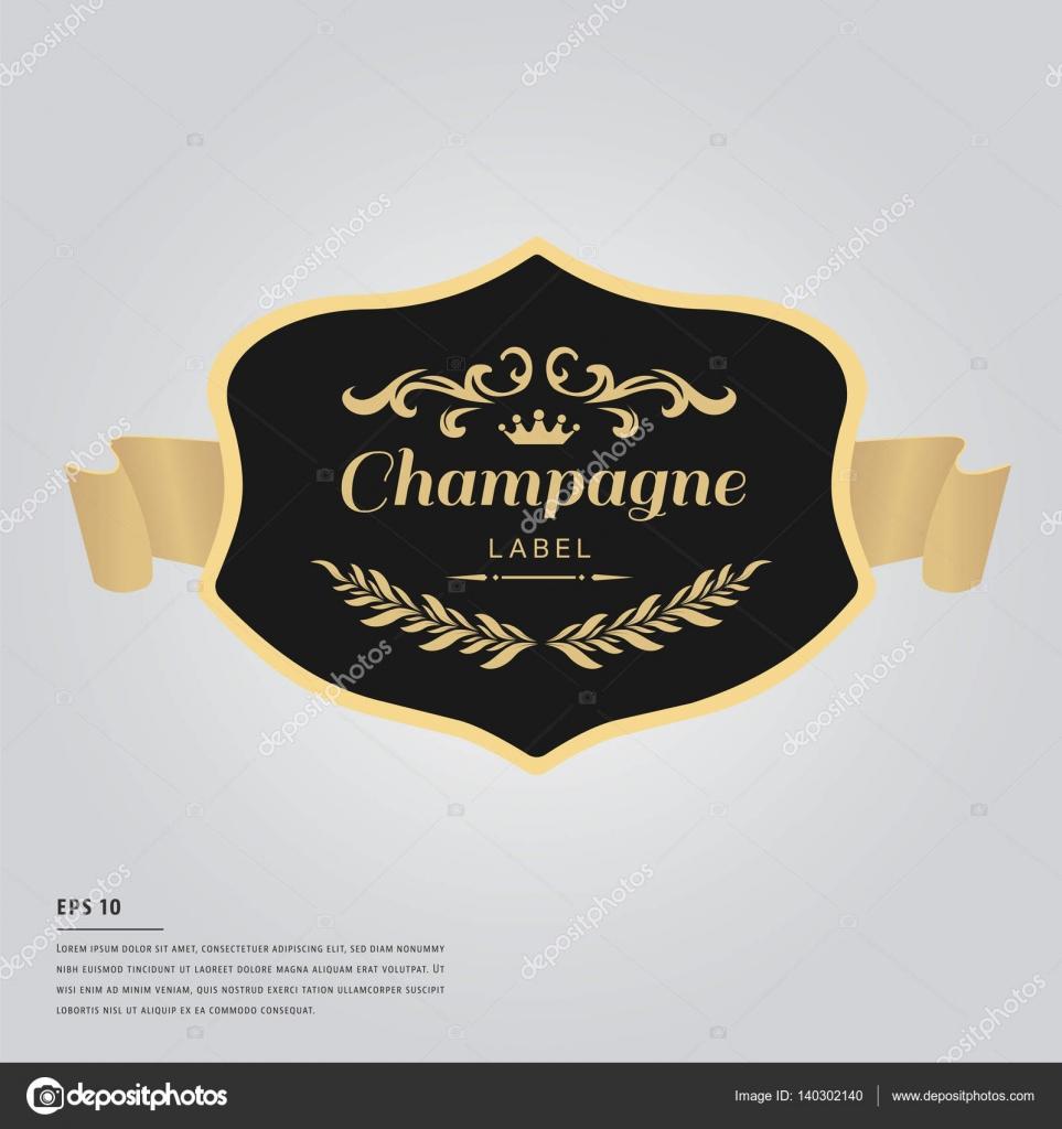 Lorem Ipsum Text mit Champagner Flaschen-Etikett — Stockvektor ...