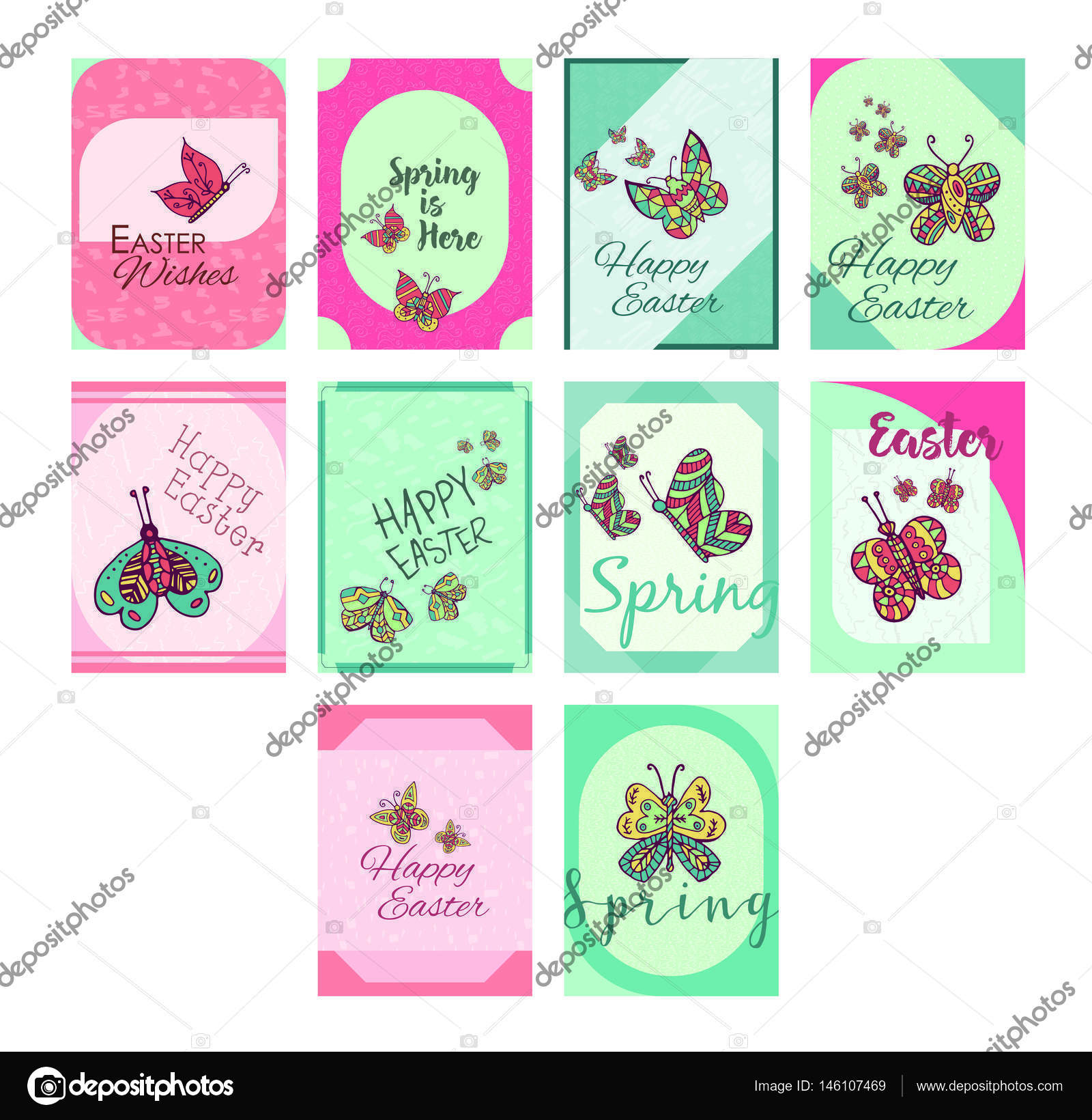 Greeting Cards With Easter And Spring Messages Stock Vector
