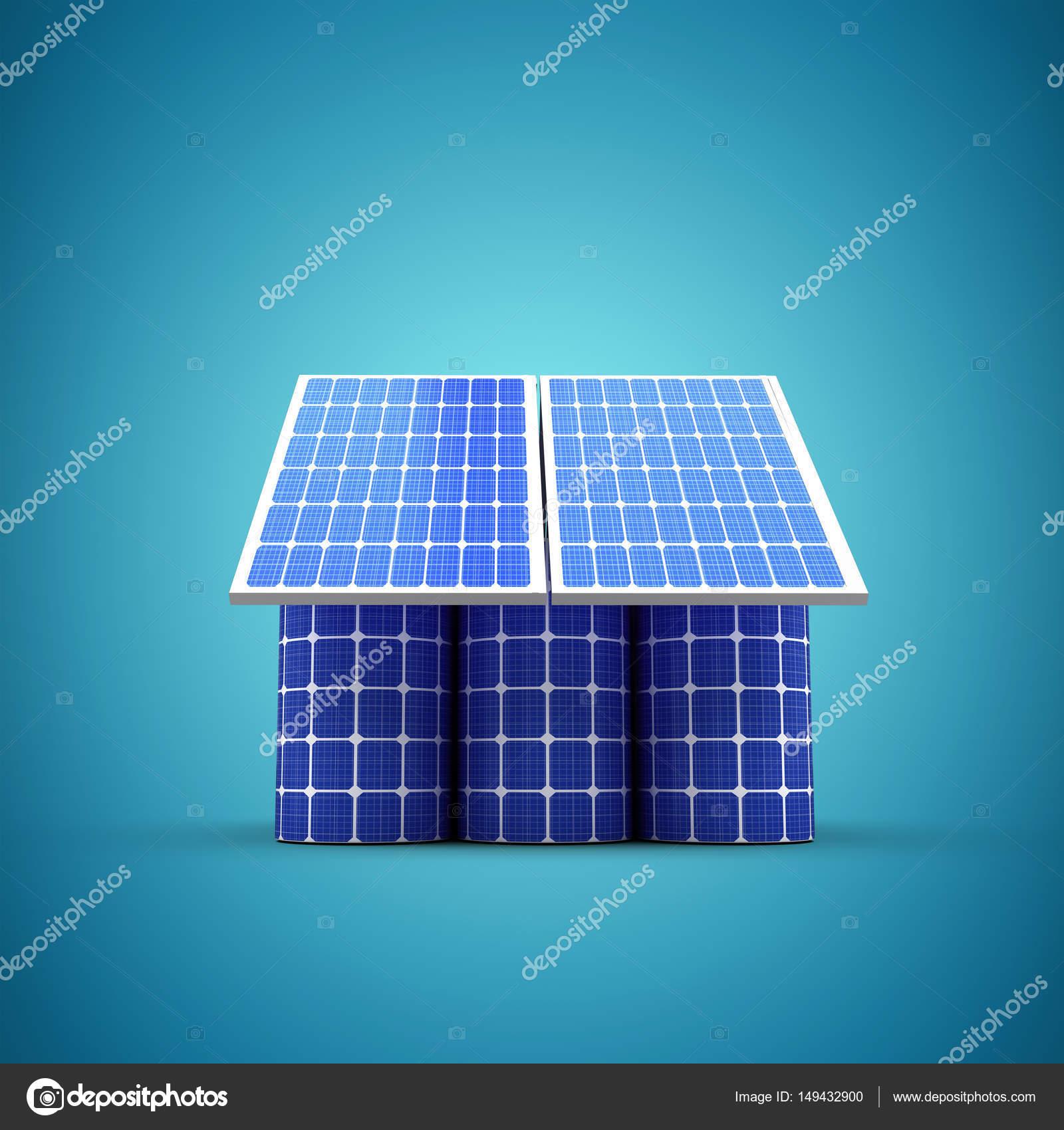 3D Bild Eines Hausmodell Aus Solarzelle Und Paneele Hintergrund Blaue  Vignette U2014 Foto Von Vectorfusionart