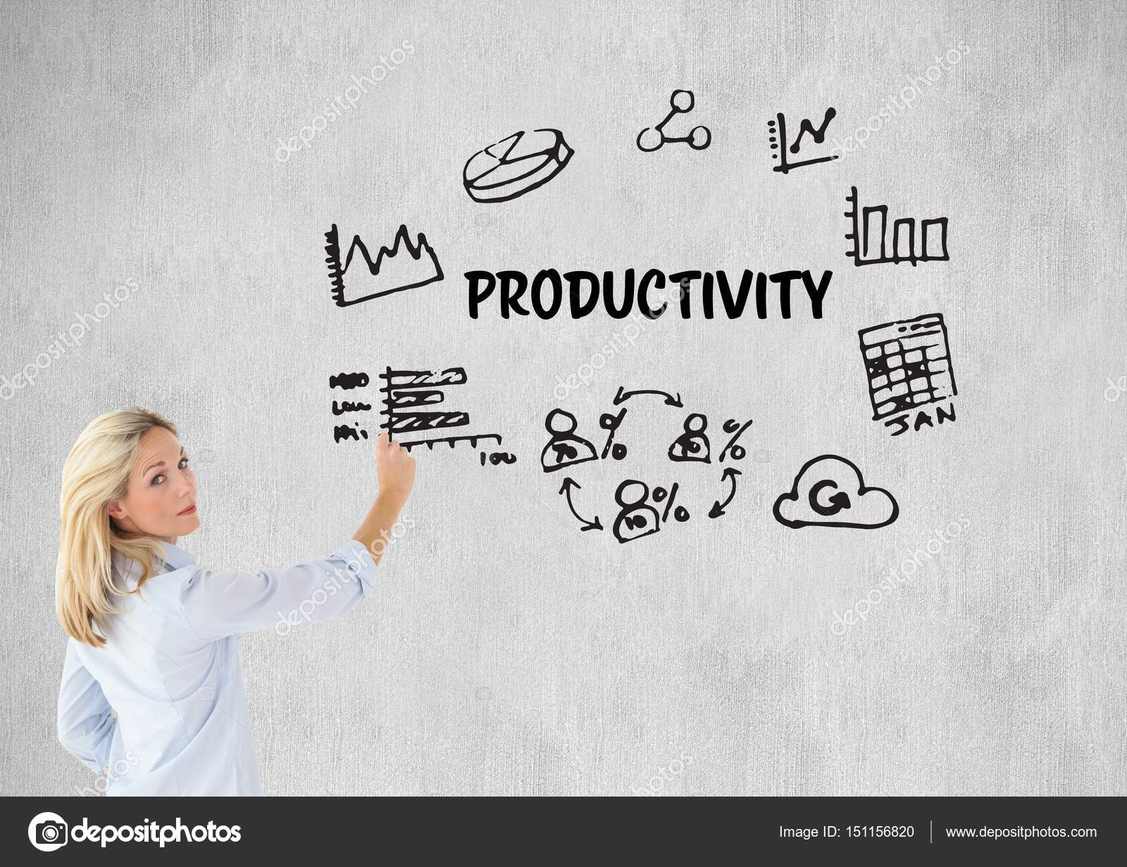 About Productivity woman drawing a graphic about productivity — stock photo