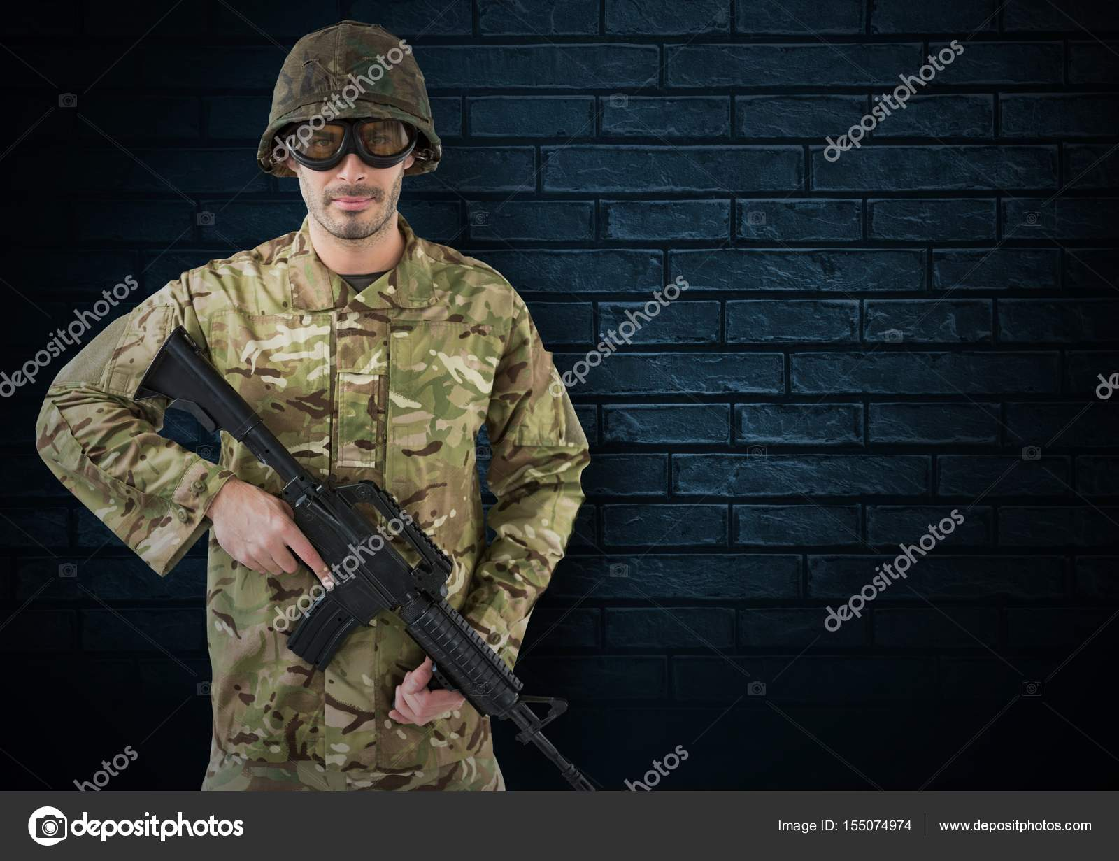 Digital Composite Of Soldier With Helmet Glasses And Weapon Dark Bricks Background Photo By Vectorfusionart