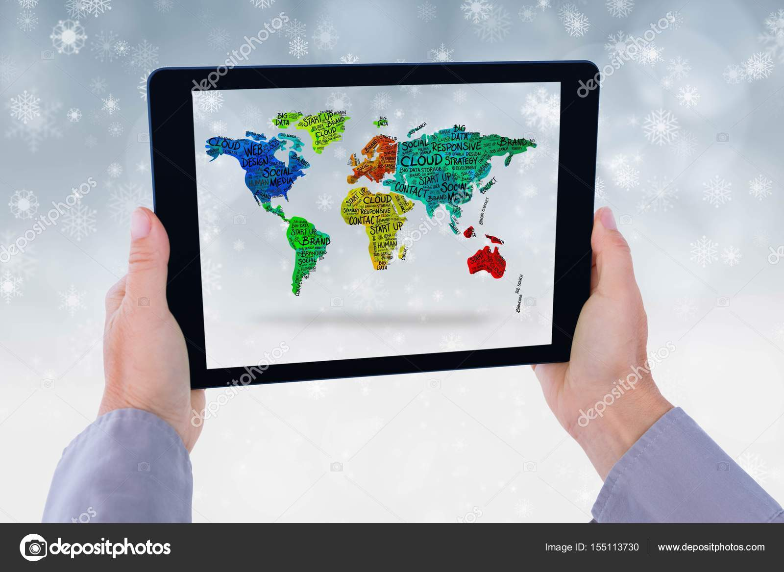 Model is showing world map from the tablet computer screen against digital composite of model is showing world map from the tablet computer screen against snowflake background photo by vectorfusionart gumiabroncs Choice Image