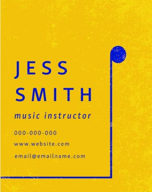 Music instructor visiting card of Jess Smith