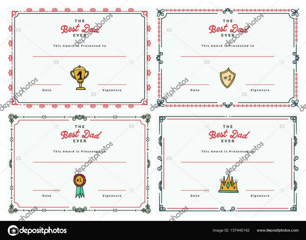 Vector Icon Set Of Best Dad Certificate Stock Vector