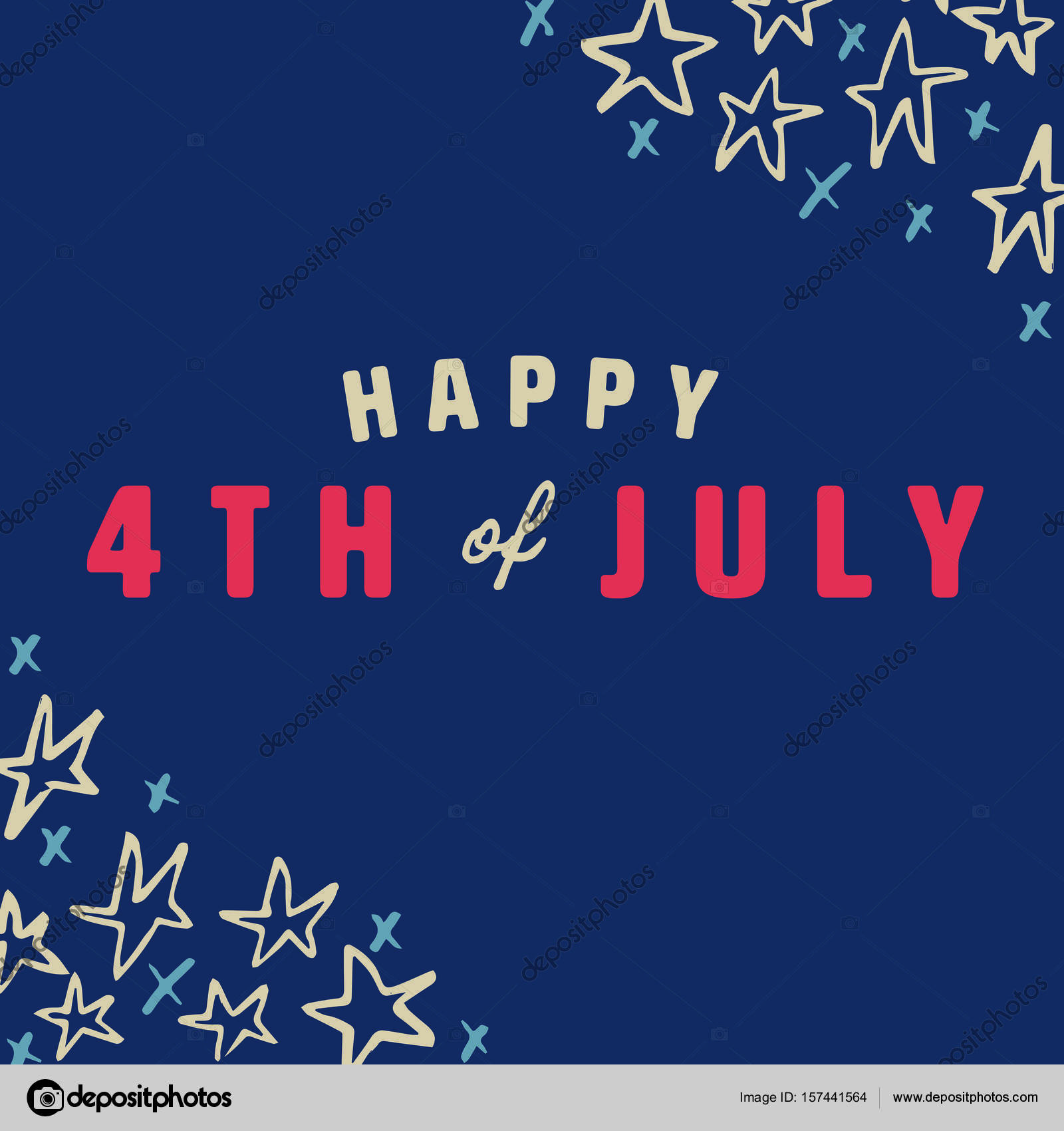 Greeting Card With Fourth Of July Message Stock Vector