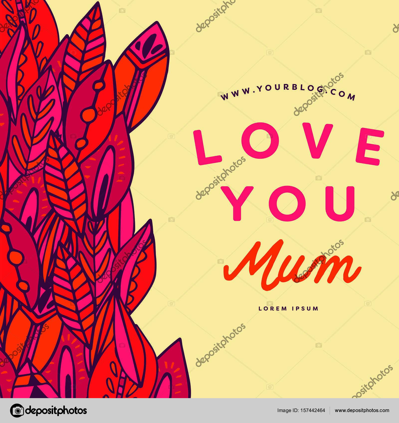 Carte De Fête De Mères Avec Amour Vous Maman Message Image