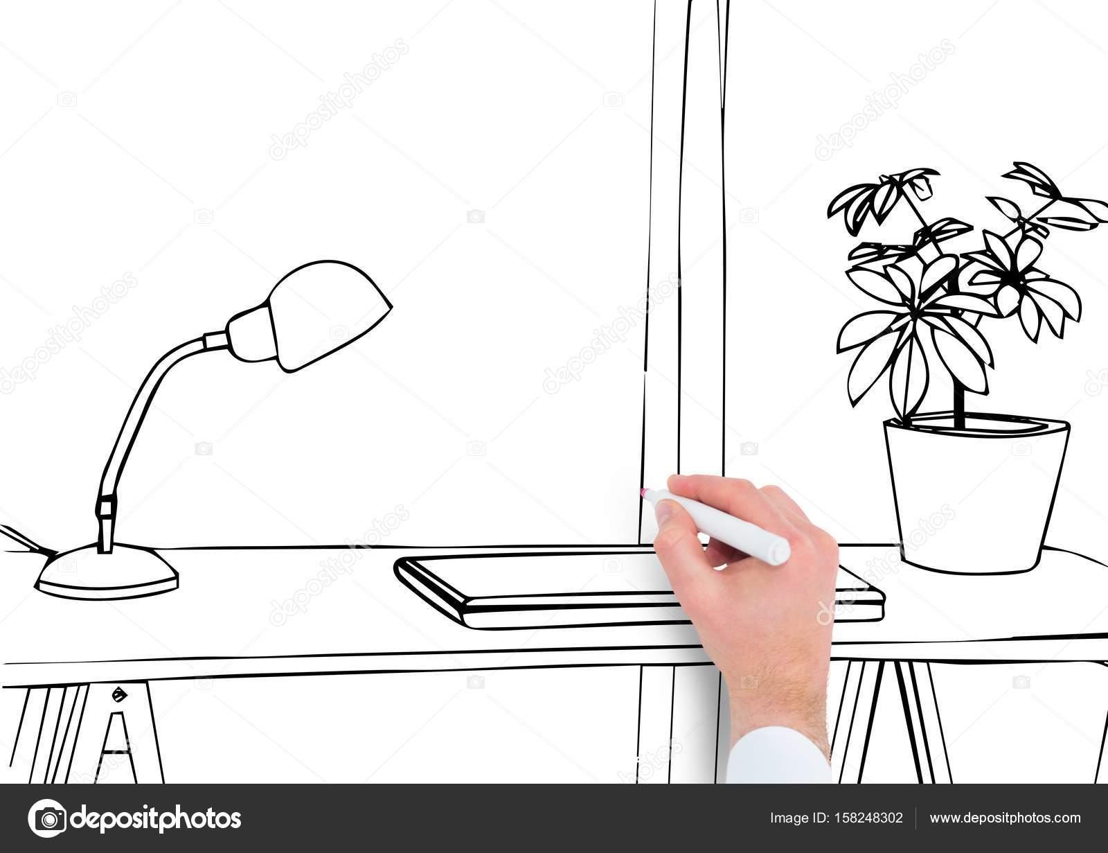 Hand Buro Linien Zeichnen Stockfoto C Vectorfusionart 158248302